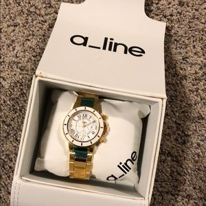 NWT, in box a_line Women's Fashion Watch in gold
